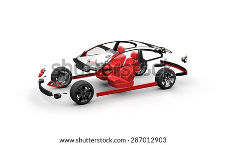Disassembled car on a white background - stock photo