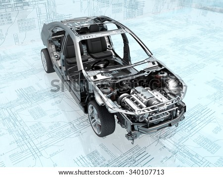 Disassembled car on the background of the drawing. - stock photo