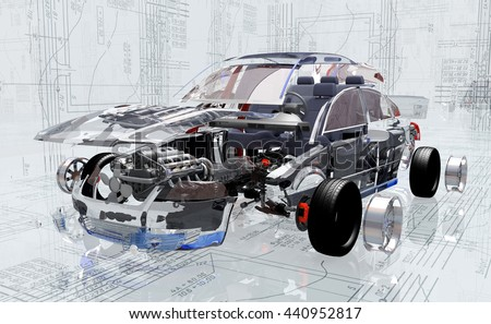 Disassembled car on the background of the drawing.,3d render - stock photo