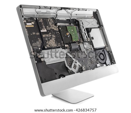 Disassembled computer monitor with internal components, isolated on white - stock photo