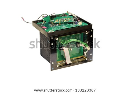 Disassembled electronic device close-up on a white background. - stock photo