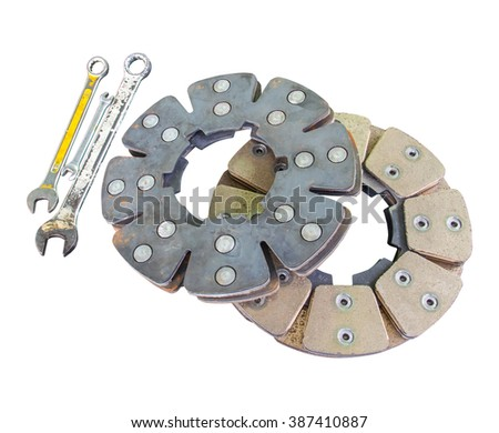 Disc brakes aircraft and a wrench on a white background( have clipping path ) - stock photo