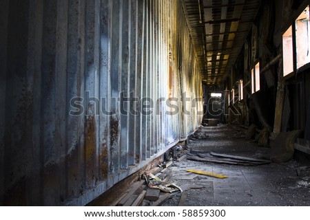 discarded building, corridor - stock photo