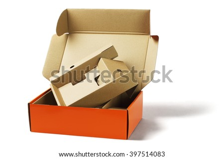 Discarded Package Box and Packing Cardboard on White Background - stock photo