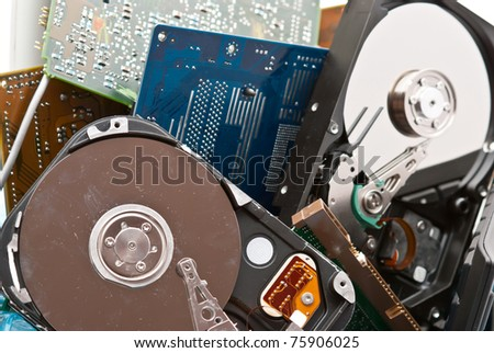 Discarded, used and old computer hardware. - stock photo