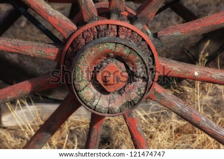 Discarded Wagon Wheel in the Great Plains - stock photo