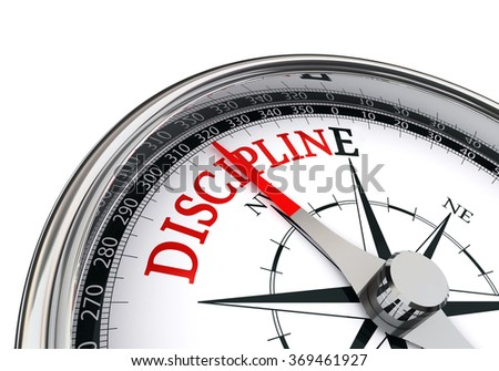 Discipline motivation red word on concept compass, isolated on white background - stock photo