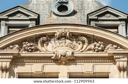 """Discipline sign on the top of the building of the University Sorbonne, """"anatomy"""" - stock photo"""
