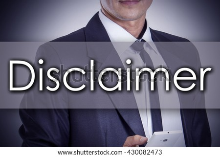 Disclaimer - Young businessman with text - business concept - horizontal image - stock photo