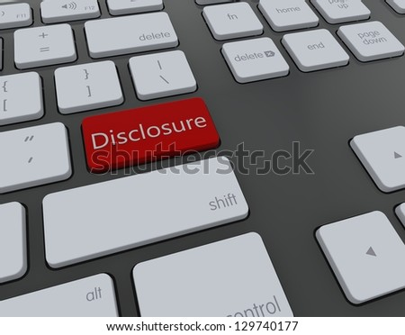 Disclosure 3d keyboard - stock photo