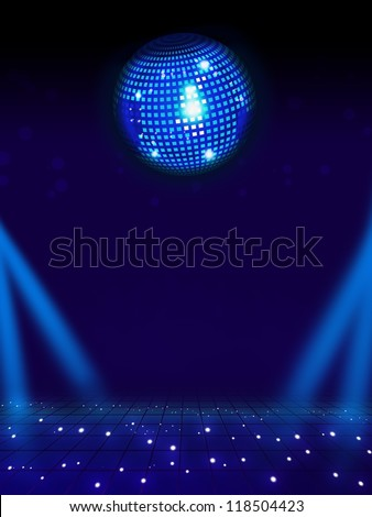 Disco ball and magic floor. Light background full layout - stock photo