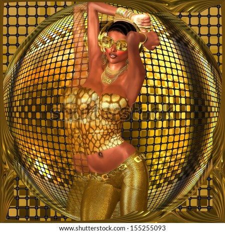 Disco ball dance girl.  A sexy girl dances in front of a gold disco ball while wearing gold sunglasses, pants and a halter top.  The DJ plays her favorite music as she ignites the night with her moves - stock photo