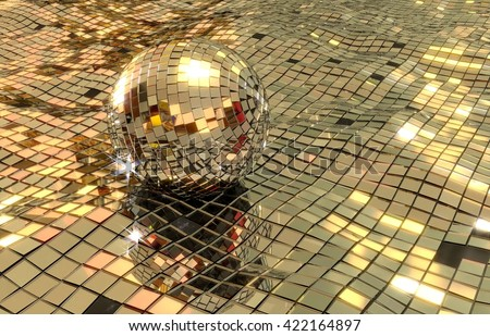 disco ball floating in disco sea 3D render. shiny mirrors in wavy pattern. some floor pieces are missing. - stock photo