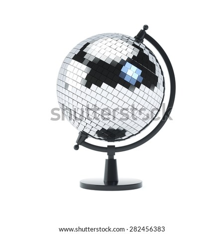 Disco-ball globe on a stand on white isolated backround - stock photo