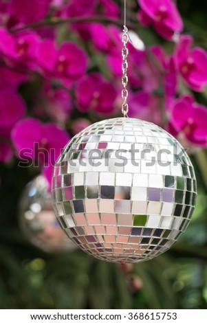 Disco ball hanging on tree in orchid garden. - stock photo