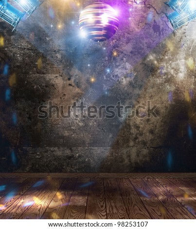Disco ball in a grunge room - stock photo