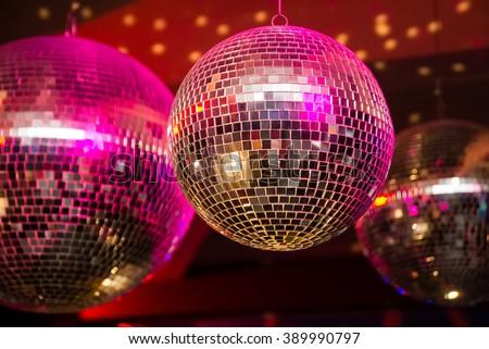 Disco ball in a nightclub - stock photo