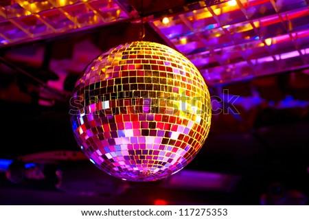Disco ball light reflection background - stock photo