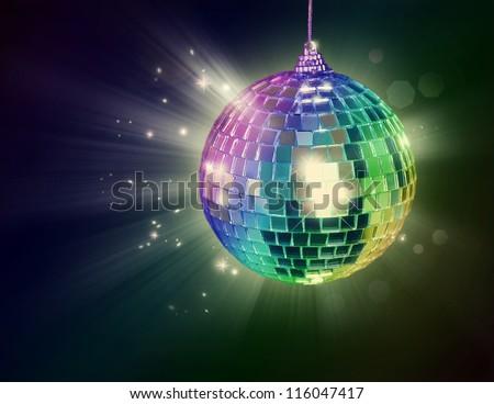 Disco ball on black background - stock photo