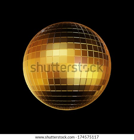 disco ball on black background, illustration. - stock photo