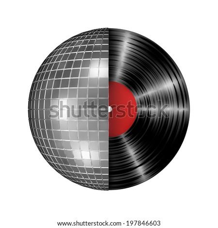 Disco ball vinyl record - stock photo