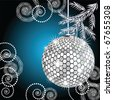 Disco ball with silver fur tree. Raster version of vector. - stock photo
