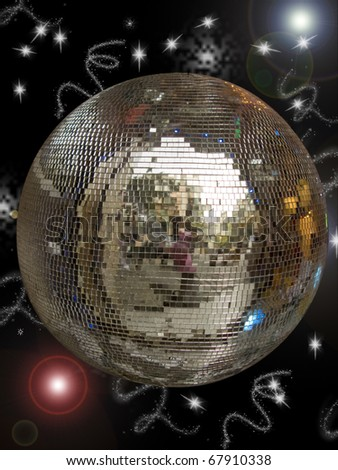 Disco ball with sparkles isolated in black - stock photo