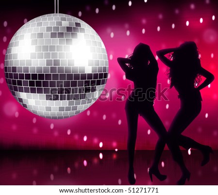 Disco ball with two girls on track - stock photo