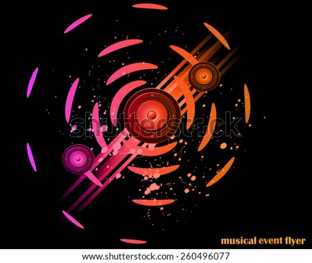 Disco club flayer with colorful elements. Ideal for poster and music background - stock photo