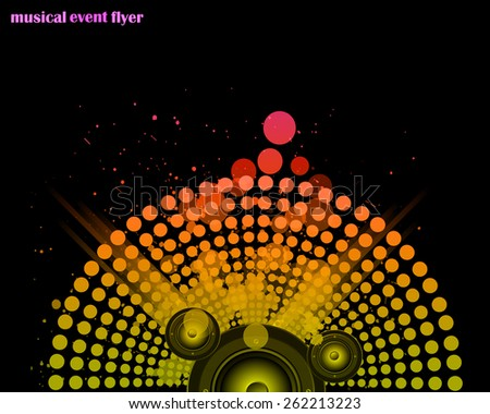 Disco club flayer with colorful elements. Ideal for poster and music background. - stock photo