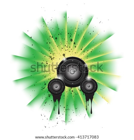 Disco club flyer with colorful elements. Ideal for poster and music background. - stock photo