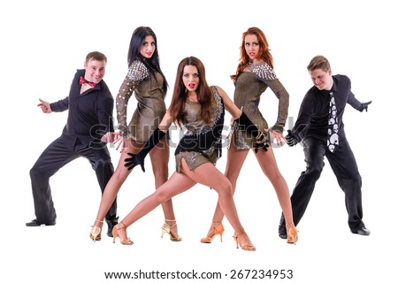 Disco dancer team dancing.  Isolated on white background in full length. - stock photo
