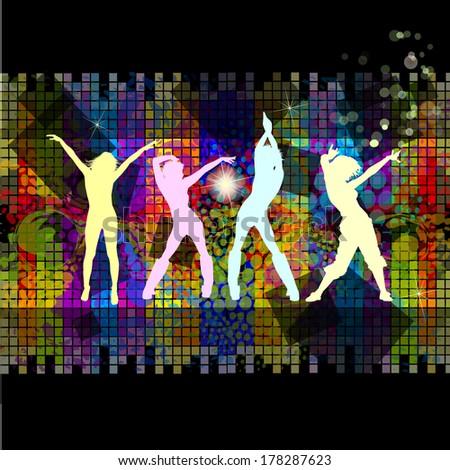 Disco dancing girls squares background. Raster - stock photo