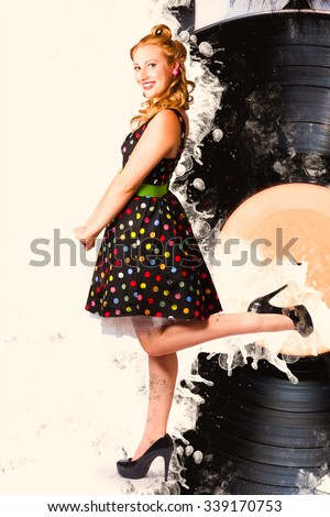 Disco music pinup girl kicking a rocking tune on diner style vinyl record. Tin sign pin-ups - stock photo