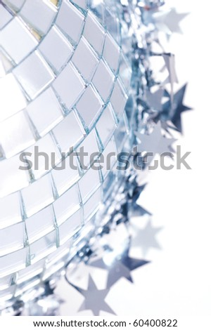 discoball and new year garland - stock photo