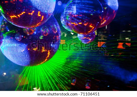 discoball / laser lights - stock photo