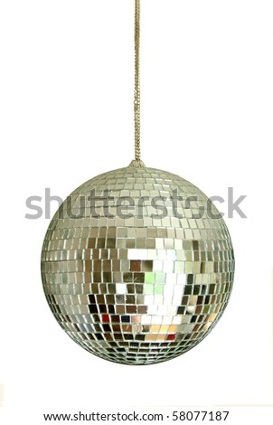 discoball on chainlet isolated - stock photo