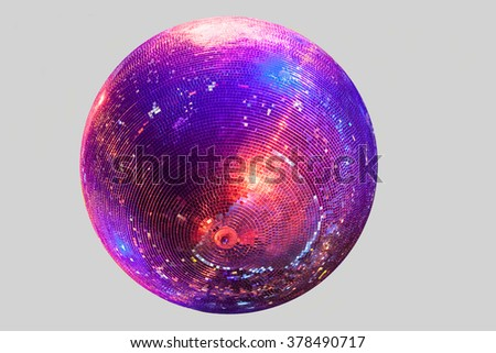 Discoball on gray background blue and red shine - stock photo