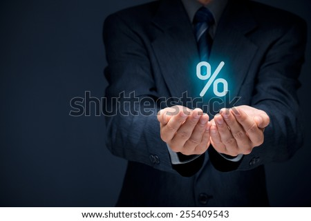 Discount and commission concept represented by percentage sign.  - stock photo