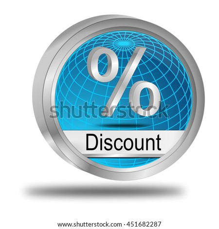 Discount button - 3D illustration - stock photo