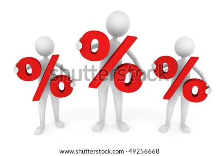 Discount concept depicting men holding red percentage symbol; great for business, economy, sales. - stock photo