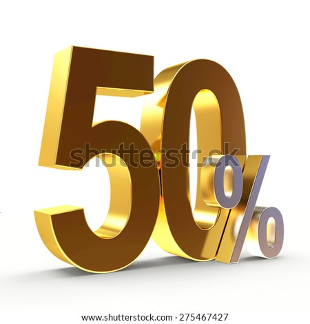 Discount concept. Golden 50 percent isolated on white background - stock photo