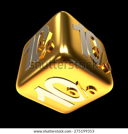 Discount concept. 10 percent on a golden sale cube isolated on black background - stock photo