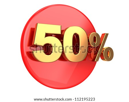 Discount coupon: 50 percent on a red circle - stock photo