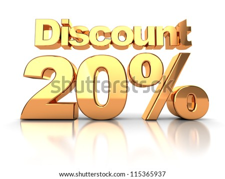 Discount coupon with 20 percent on a white background - stock photo