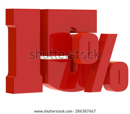 discount fifteen percent on a white background - stock photo