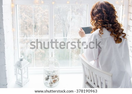 discount online shopping. Woman like online shopping though laptop  - stock photo