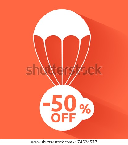 Discount parachute. Raster version - stock photo