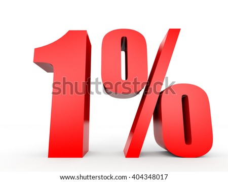 Discount 1 percent off. 3D illustration on white background. - stock photo