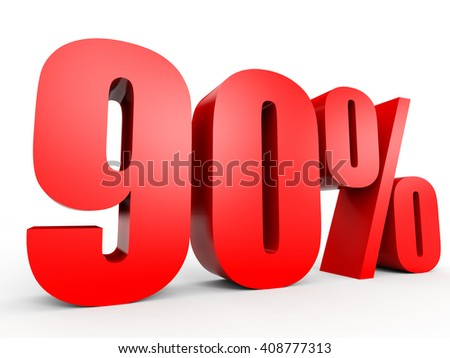 Discount 90 percent off. 3D illustration on white background. - stock photo